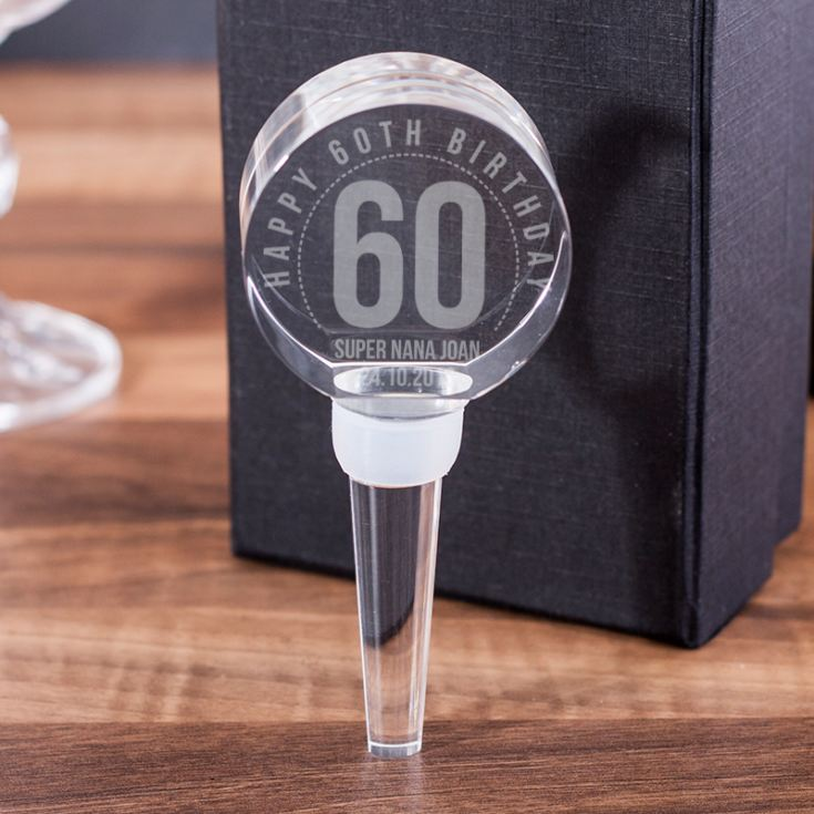 Personalised 60th Birthday Optical Crystal Bottle Stopper product image
