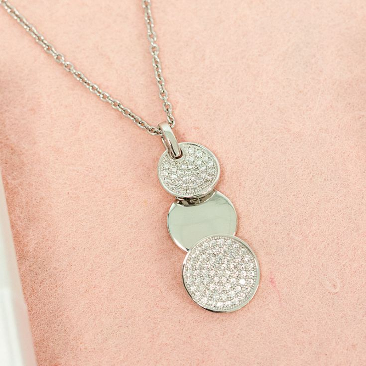 Drop Circles Sterling Silver Pendant with CZ Stones product image