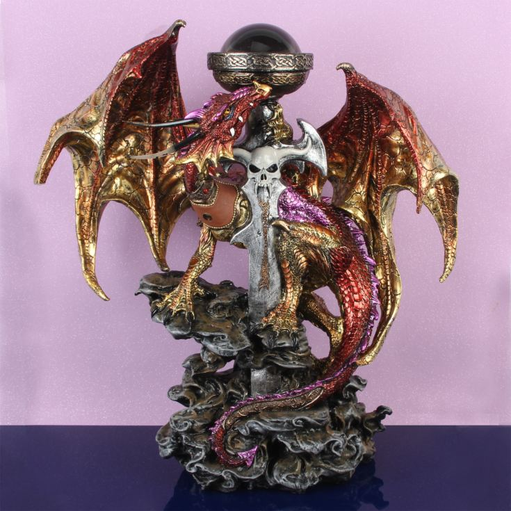 Mystic Legends Large Standing Red Dragon with LED Lights product image