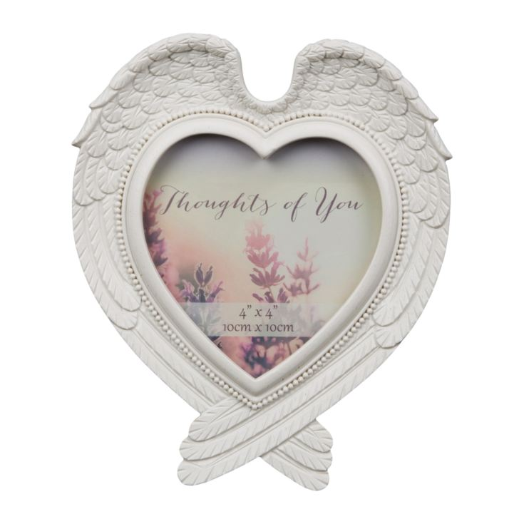 "4"" x 4"" - Thoughts Of You Heart Shaped Wings Photo Frame product image"