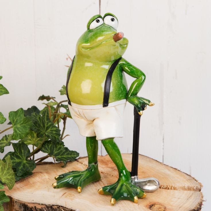 Hand Painted Resin Standing Frog Smoking Cigar Figurine product image