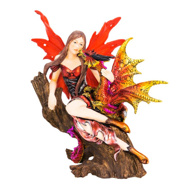 Mystic Legends Fairy & Red Dragon Figurine product image