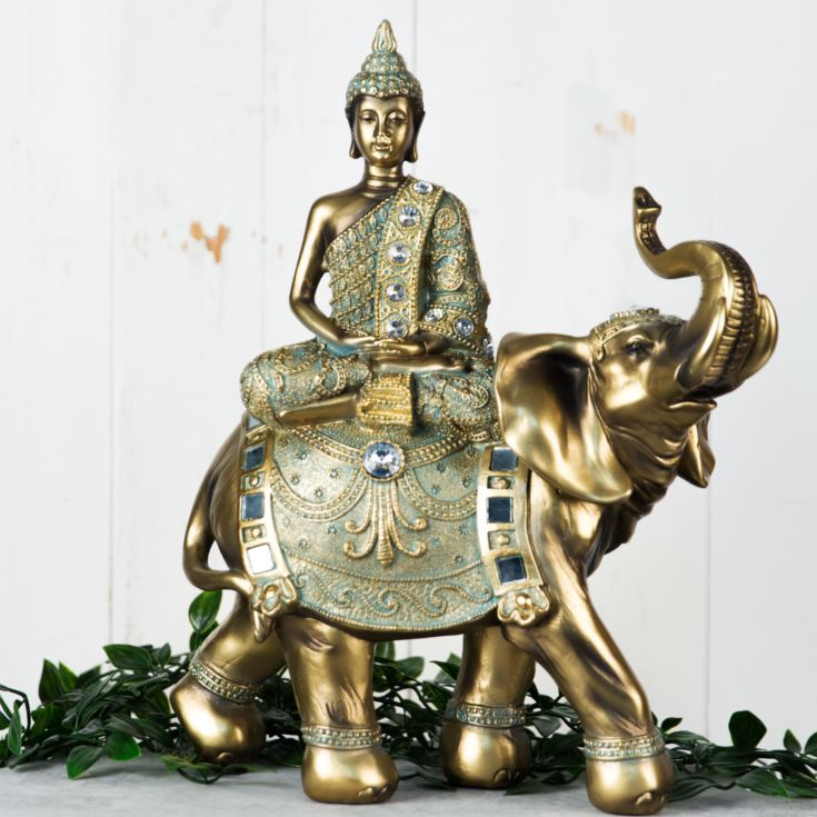 Verdigris Bronze Finish Buddha on Elephant Figurine 33cm product image