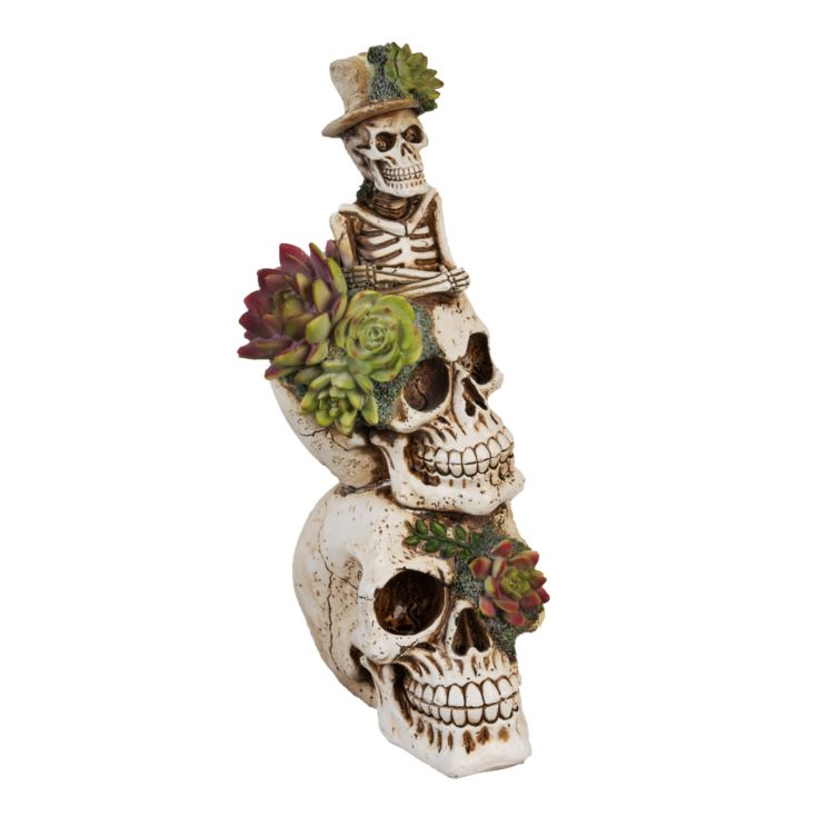 White Resin Stacked Floral Skulls Figurine 30cm product image
