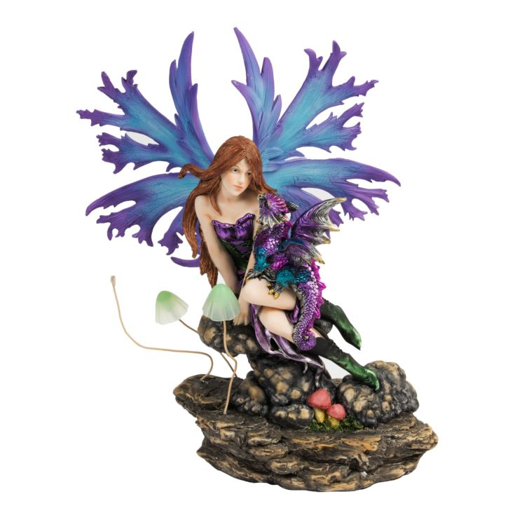 Mystic Legends Blue Winged Fairy & Dragon LED Figurine product image