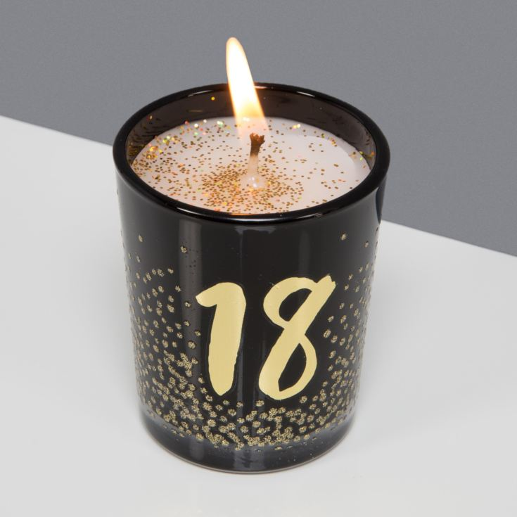Signography Black Glass Candle with Gold Foil & Glitter - 18 product image