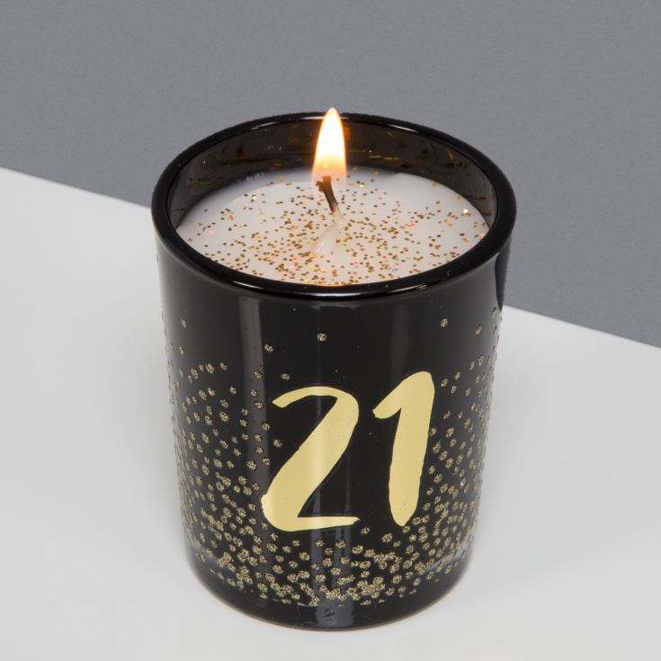 Signography Black Glass Candle with Gold Foil & Glitter - 21 product image