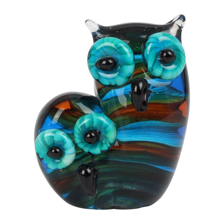 Objets d'Art Glass Figurine - Mother & Baby Owl product image
