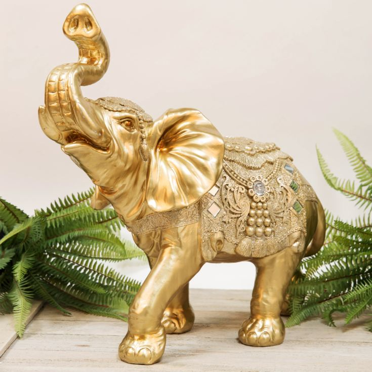 Large Golden Elephant Figurine 41cm product image