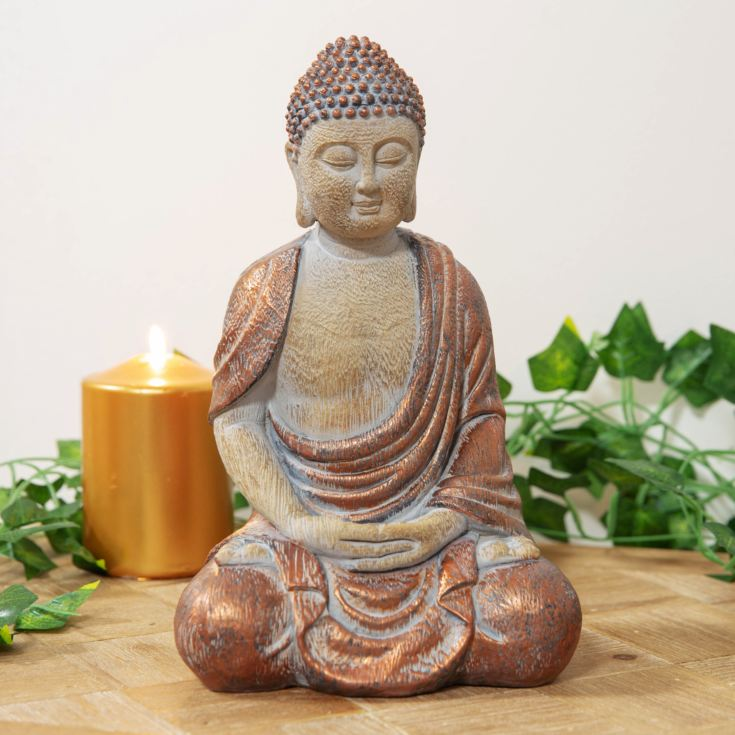 Carved Wood & Copper Finish Thai Buddha Ornament product image