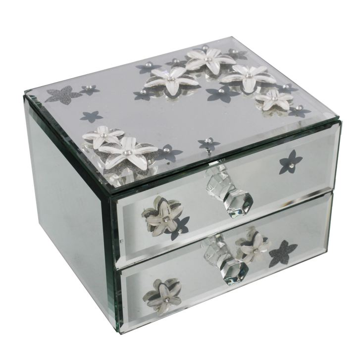 Sophia Mirror Glass & Flower 2 Drawer Jewellery Box product image