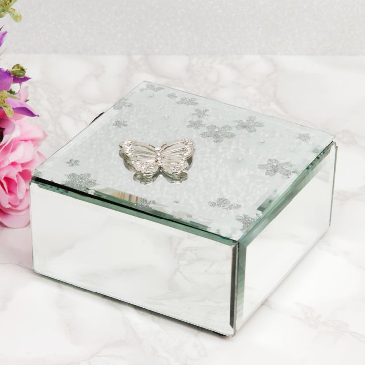Sophia Glass & White Flower Trinket Box product image