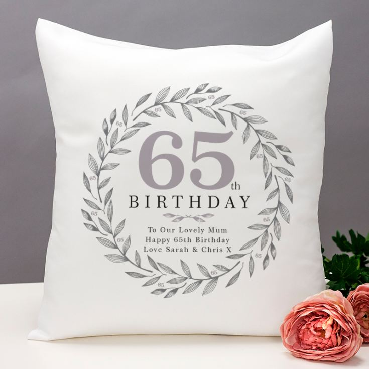 Personalised 65th Birthday Cushion product image
