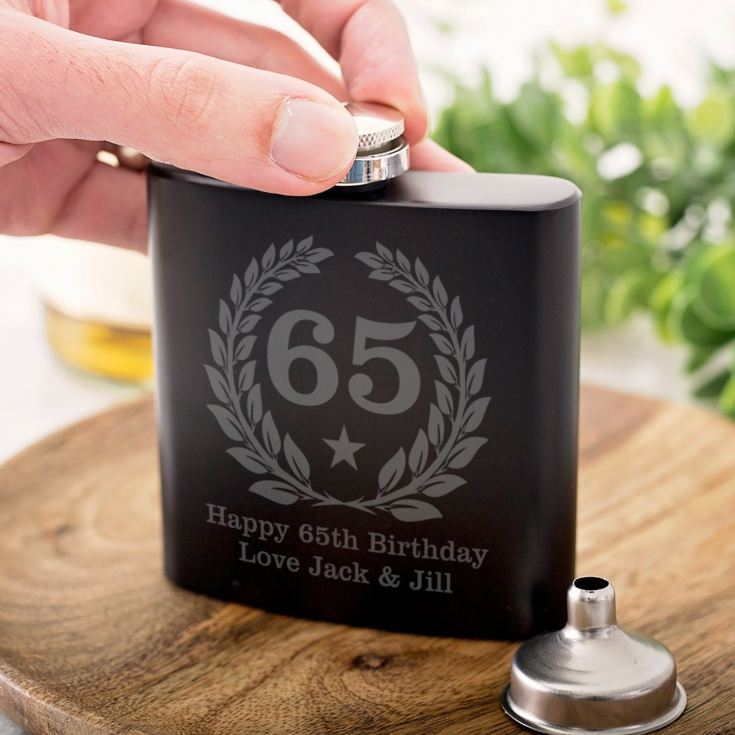 Personalised 65th Birthday Black Hip Flask product image