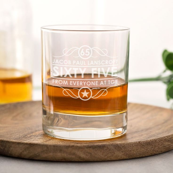 Personalised 65th Birthday Whisky Glass product image