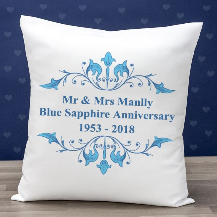 Personalised Blue Sapphire Anniversary Cushion product image