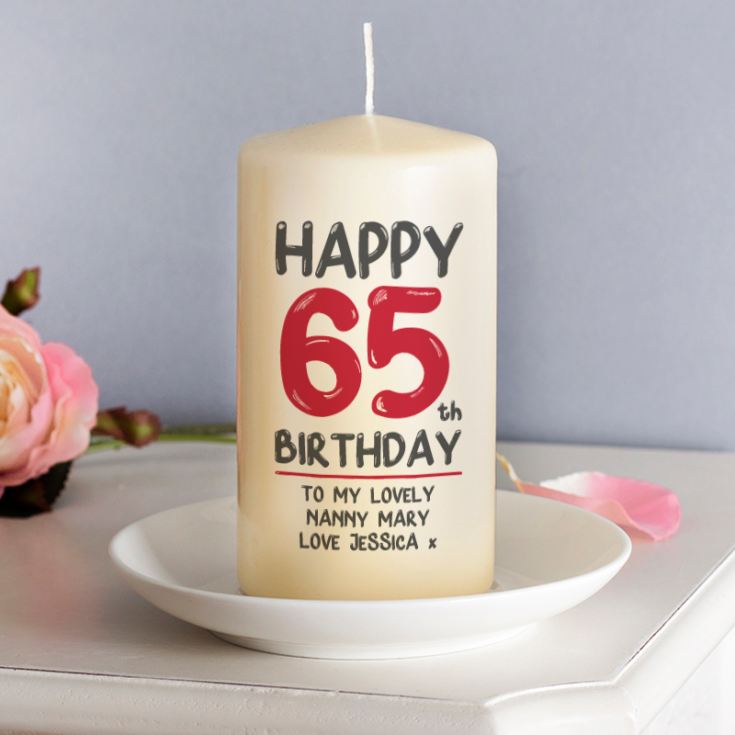 Personalised 65th Birthday Candle Red product image