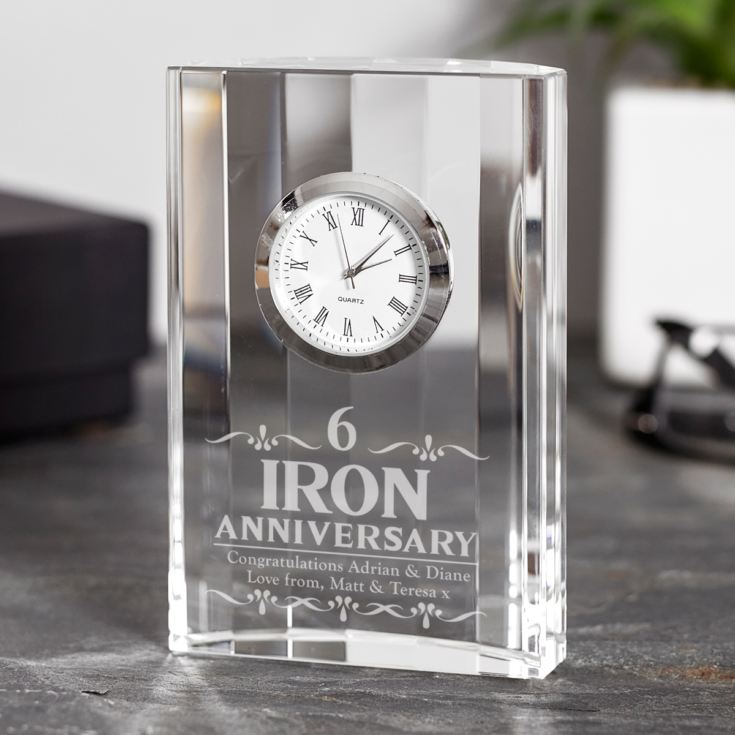 Engraved Sixth Wedding Anniversary Mantel Clock product image
