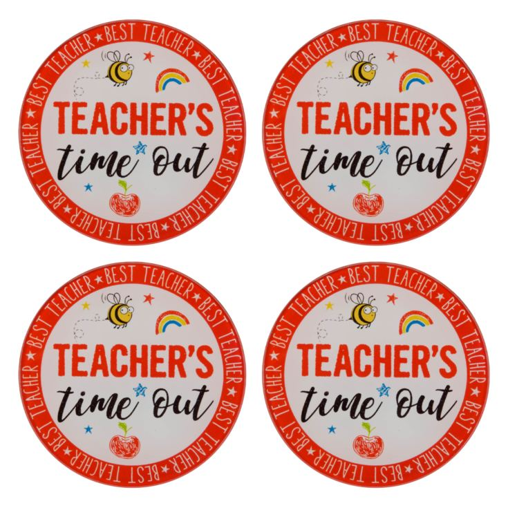 Set of 4 Teacher's Time Out Glass Coasters product image