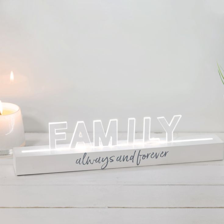 Say It In Lights White LED Light Up Plaque 40cm - Family product image