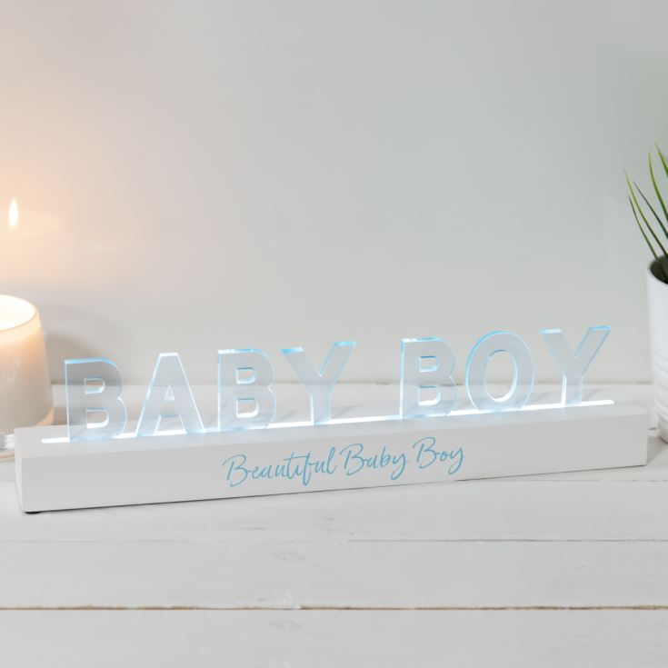 Say It In Lights White LED Light Up Plaque 40cm - Baby Boy product image