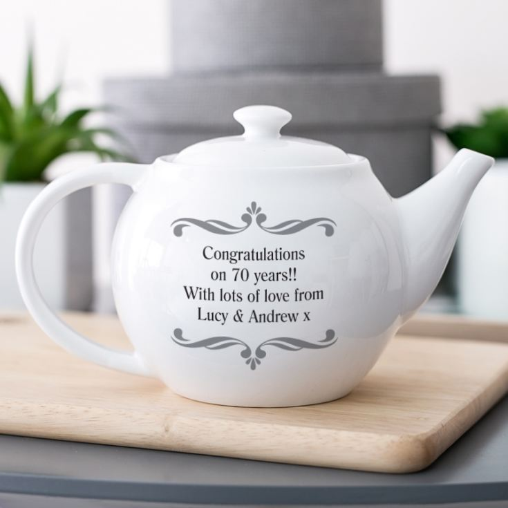 Personalised Platinum Wedding Anniversary Teapot product image