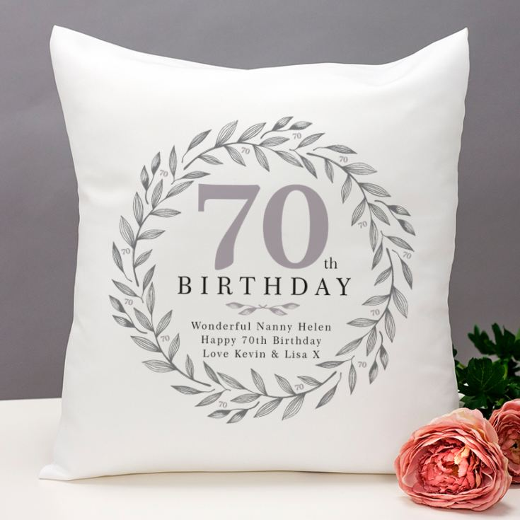 Personalised 70th Birthday Cushion product image
