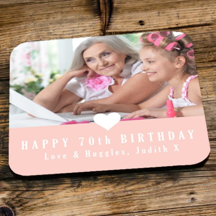 Personalised 70th Birthday Pink Photo Coaster product image