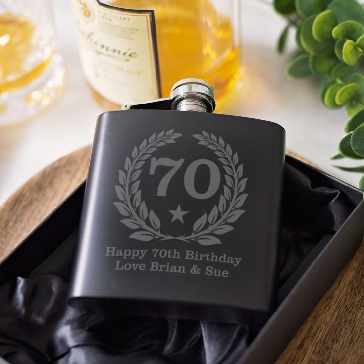 Personalised 70th Birthday Black Hip Flask product image