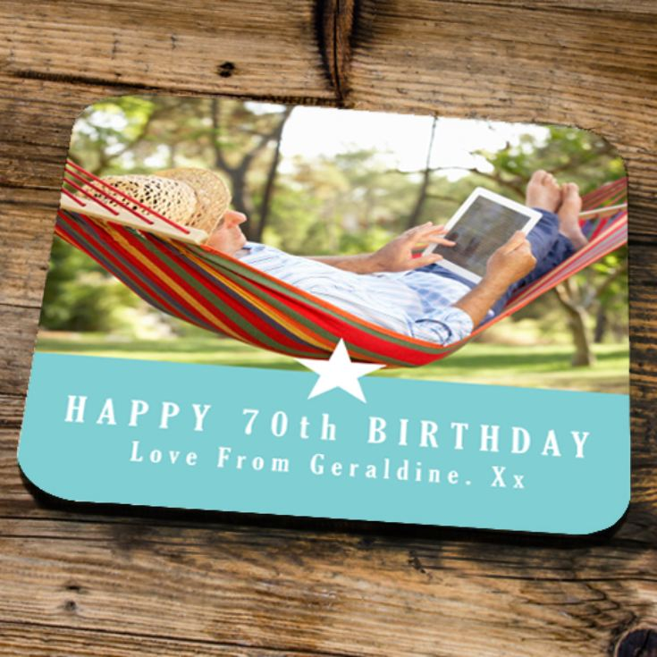 Personalised 70th Birthday Blue Photo Coaster product image