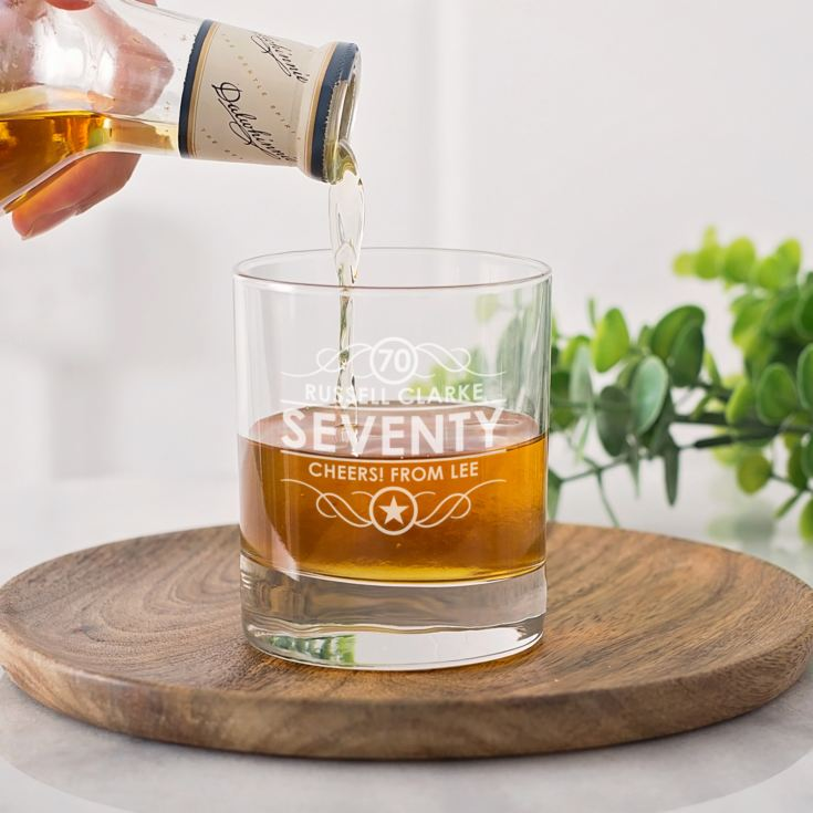 Personalised 70th Birthday Whisky Glass product image