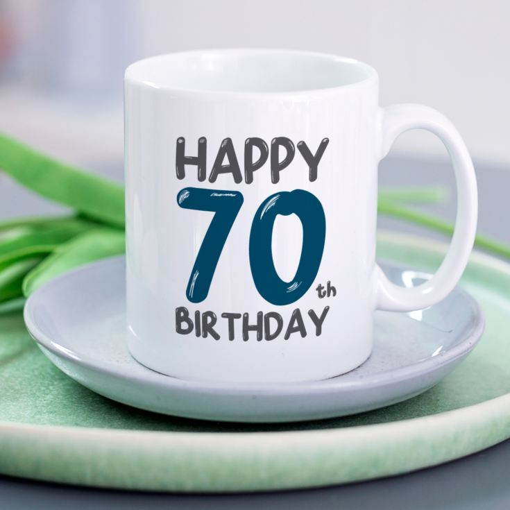 Personalised 70th Birthday Mug Blue product image