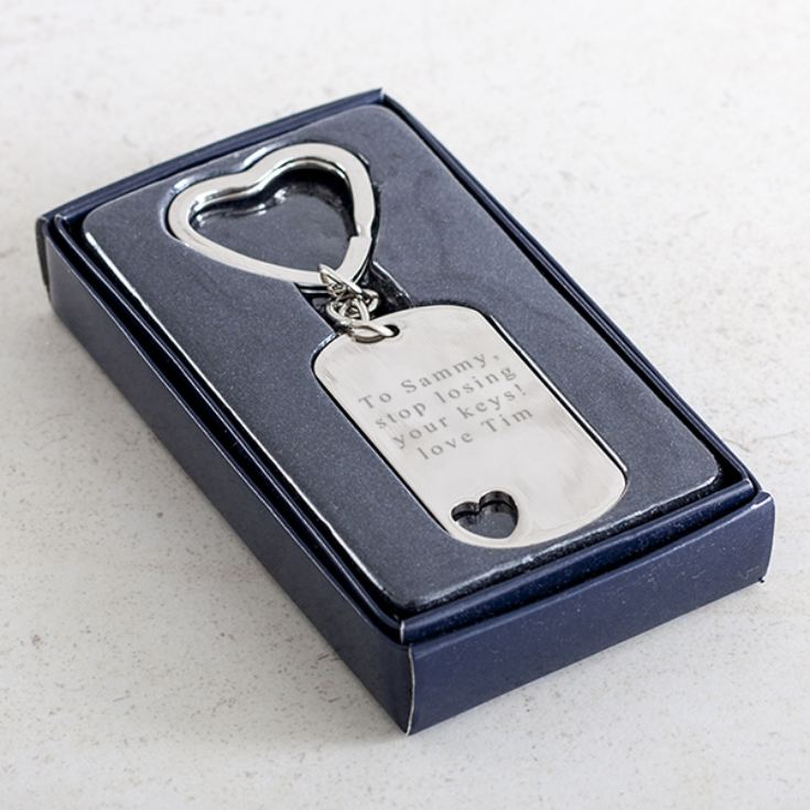 Personalised Rectangle Keyring With Cut Out Heart product image