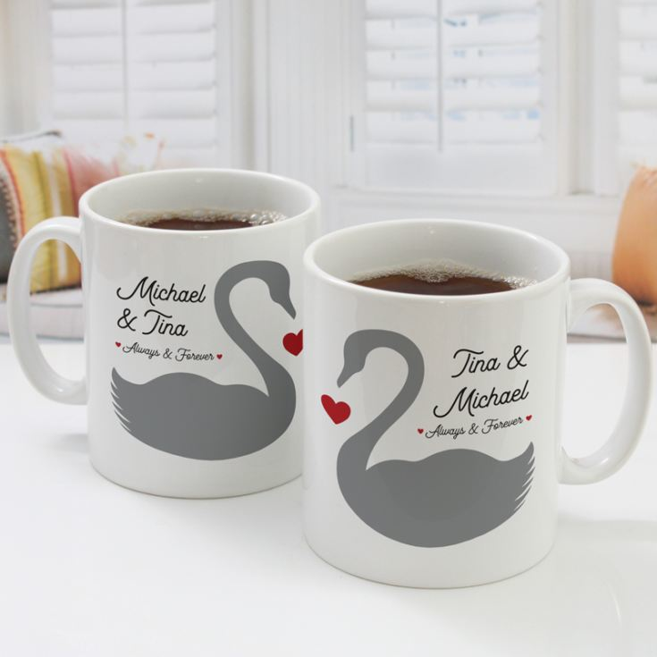 Personalised Pair Of Romantic Swans Mugs product image