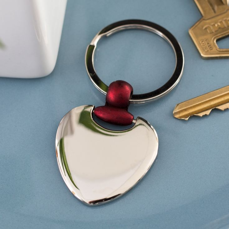 Engraved Silver Heart Keyring with Red Detail product image