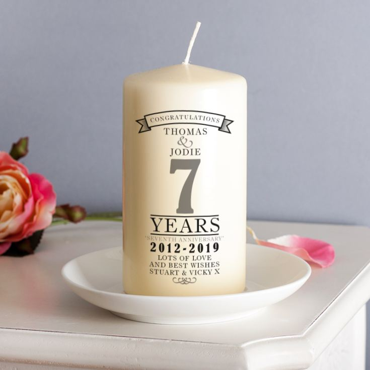 7th Wedding Anniversary Gift Ideas For Her: Personalised 7th Anniversary Candle