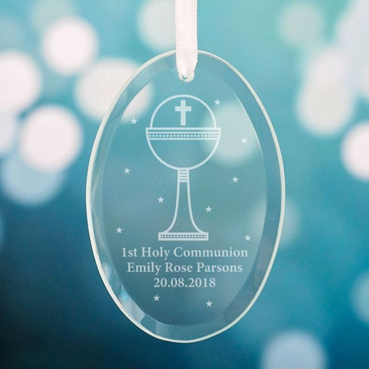 Personalised First Holy Communion Hanging Glass Oval product image