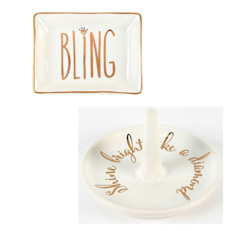 'Shine Bright...' Ring Holder & 'Bling' Jewellery Tray product image