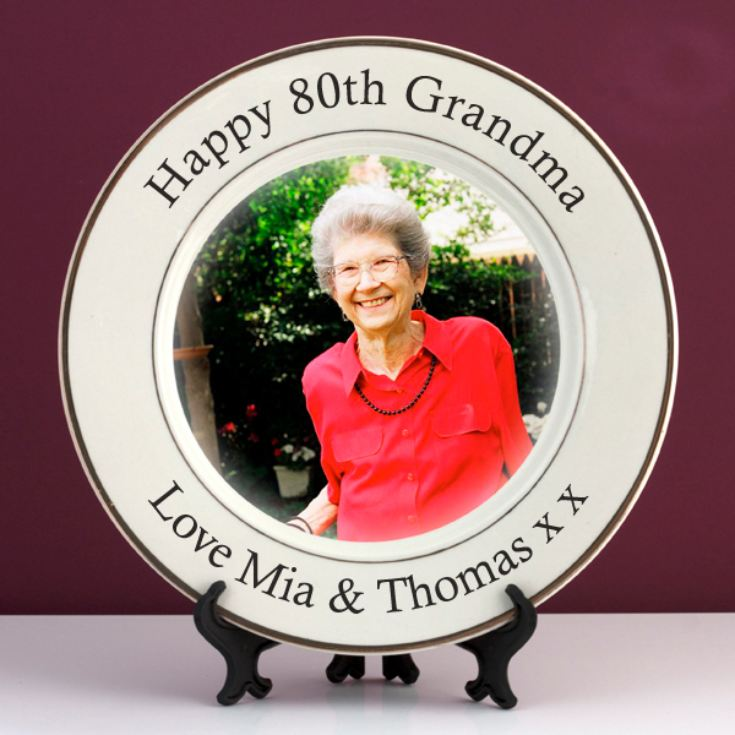 Personalised 80th Birthday Photo Plate product image