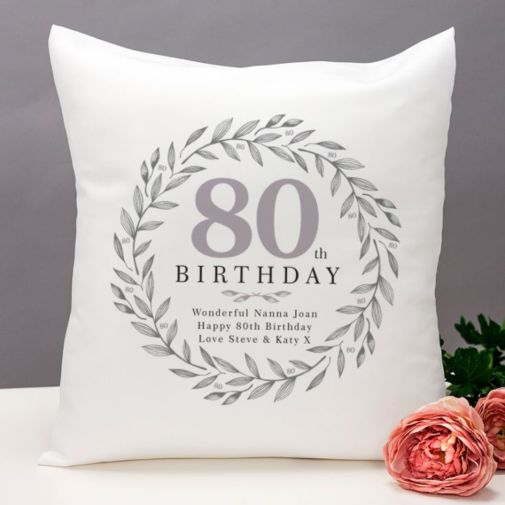 Personalised 80th Birthday Cushion product image