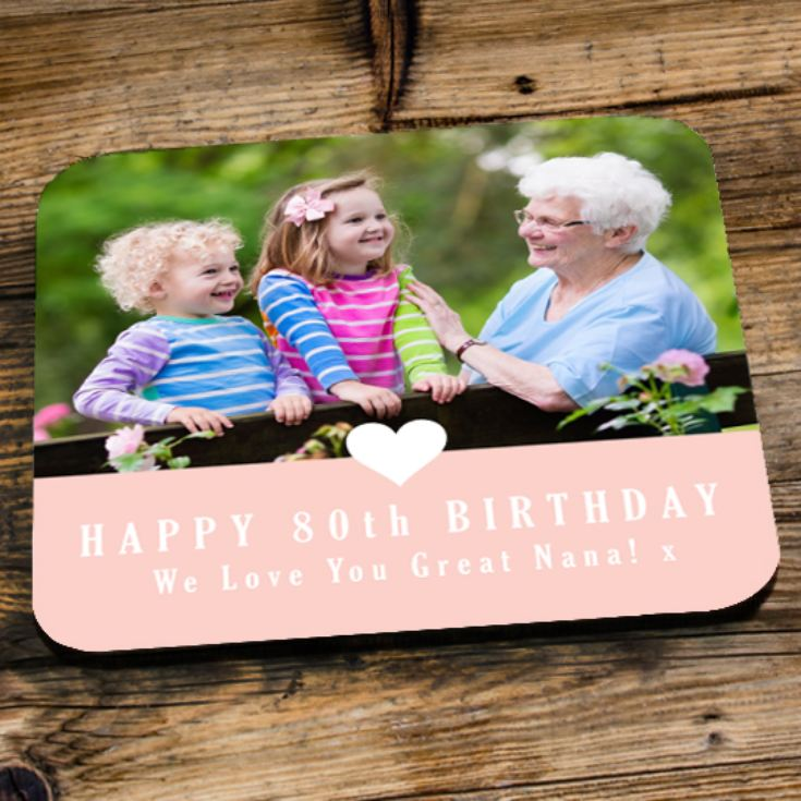 Personalised 80th Birthday Pink Photo Coaster product image