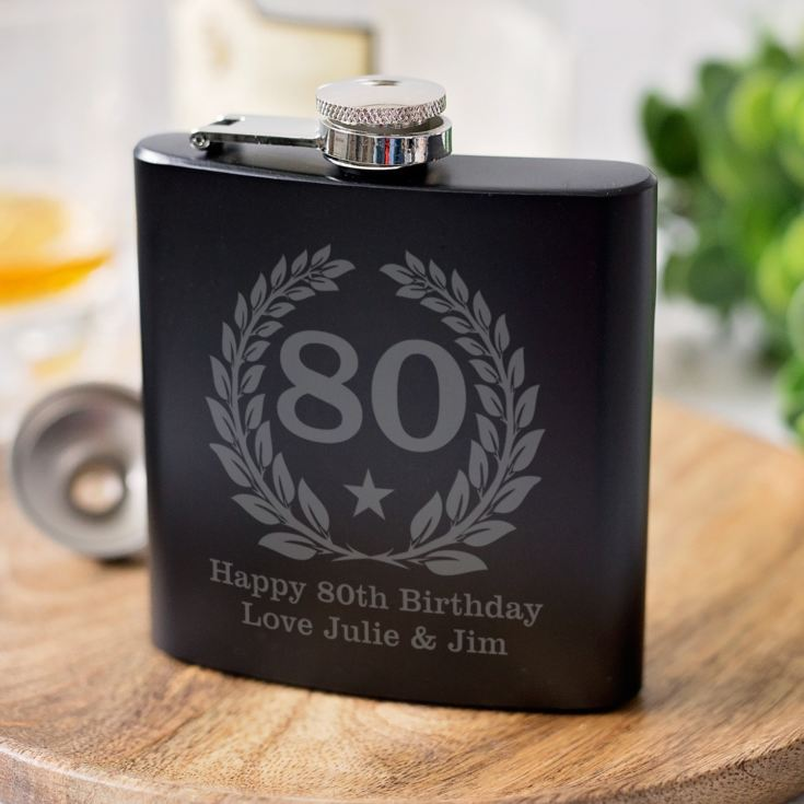 Personalised 80th Birthday Black Hip Flask product image