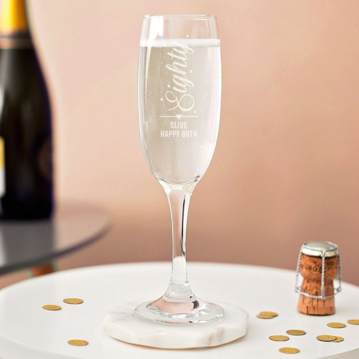 Personalised 80th Birthday Prosecco Glass product image