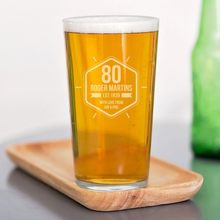 Personalised 80th Birthday Straight Sided Pint Glass product image