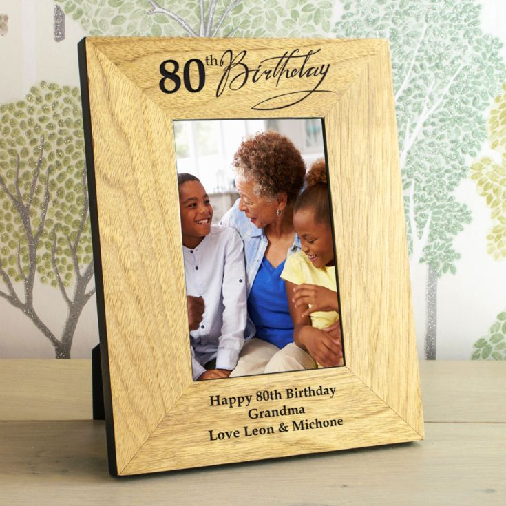 80th Birthday Wooden Personalised Photo Frame product image