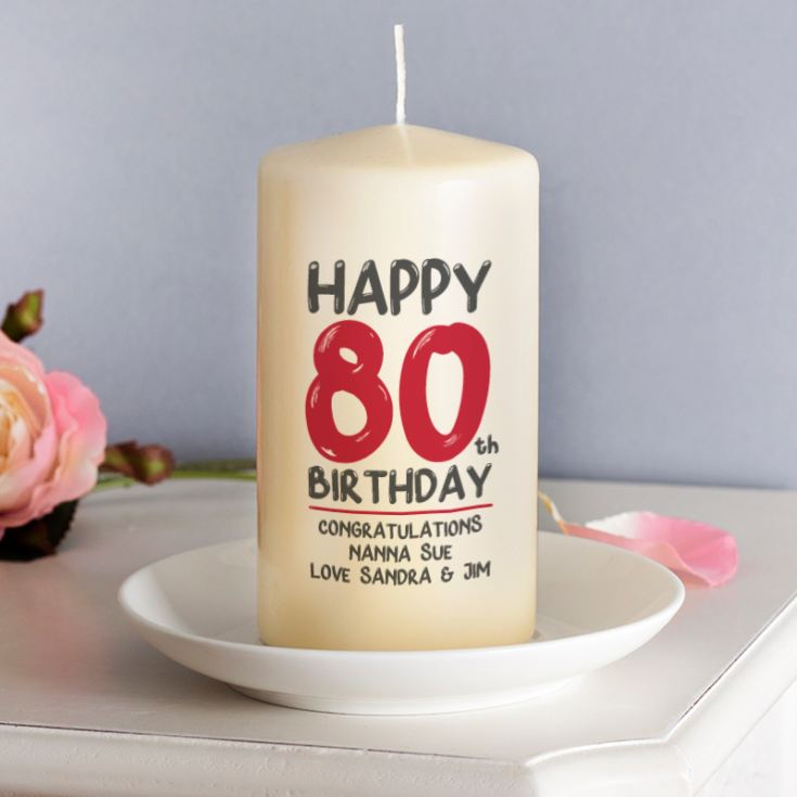 Personalised 80th Birthday Candle Red product image
