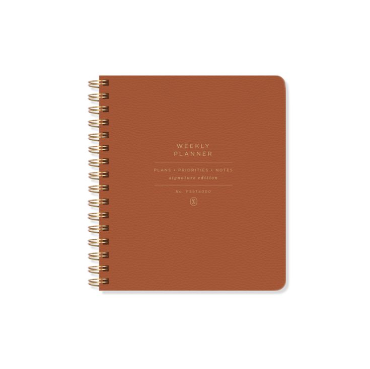 ORANGE FAUX LEATHER NON DATED WEEKLY PLANNER product image