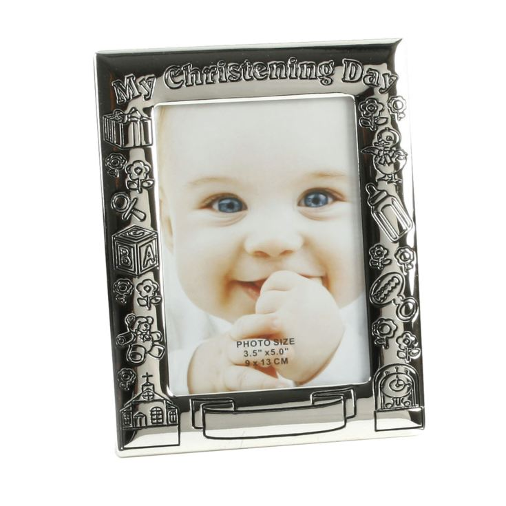 "3.5"" x 5"" - Silver Plated My Christening Day Photo Frame product image"