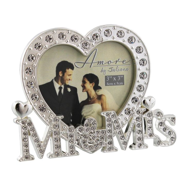 "3"" x 3"" - Amore Silver Plated & Crystal Heart Photo Frame product image"