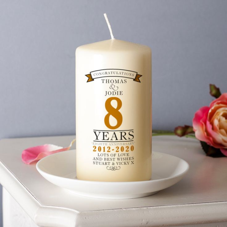 Personalised 8th Anniversary Candle product image